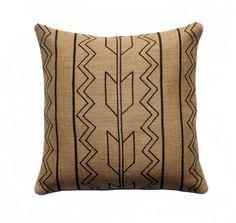 Tribal Burlap Pillow Cover, Arrow Pillow, Aztec Throw Pillow, Decorative, Rustic, Southwestern, Black and Beige16x16. $46,00, via Etsy.