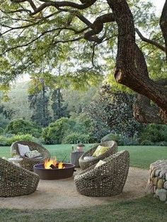Round patio in middle of yard.  #outdoor #patio #firepit