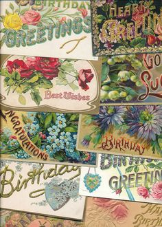 12 Pretty Large Letter BIRTHDAY ~ BEST WISHES, ETC. Vintage Postcards Lot-ccc310