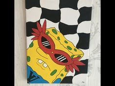 Small Canvas Paintings, Easy Canvas Art, Small Canvas Art, Mini Canvas Art, Hippie Painting, Trippy Painting, Diy Painting, Spongebob Painting, Funny Paintings