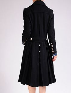 Black Wool Cashmere Blended Double Breasted Long Sleeved Swing Skirt Buttons Fashion Winter Trench Coat on Etsy, $369.80