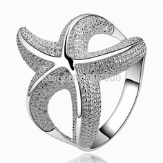 R538 cute new design 925 sterling silver starfish finger rings fashion jewelry beautiful Christmas gift Top quality