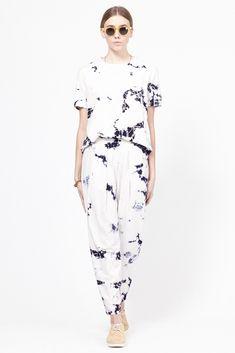Raquel Allegra Slub Easy Pant (White Cloud Floral)