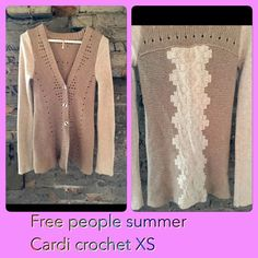 Free people XS crochet lace light Cardigan wrap Retails $140- In excellent new condition worn once cardigan wrap. Details with crochet and lace patterns! Size XS. Prefer to sell direct pay for cheaper $55️️ perfect cardi wrap for those chilling spring/summer nights plus with natural earth tones it's sure to match your favorite outfits and adding a touch of vintage class! Free People Tops