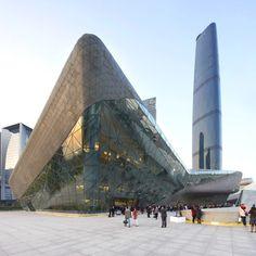 Guangzhou Opera House by Zaha Hadid Opera House Architecture, Zaha Hadid Architecture, Futuristic Architecture, Amazing Architecture, Art And Architecture, Unusual Buildings, Interesting Buildings, Amazing Buildings, Organic Architecture