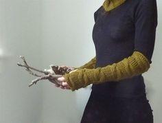 Unisex Lovey muffole, manicotti, guanti senza dita, a mano a maglia guanti senza dita con dettaglio di cavo, oliva, pronto a nave