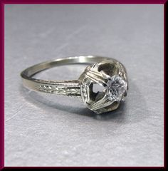 Antique Vintage 18K White Gold Art Deco Diamond Etched Engagement Ring Wedding Ring by AntiqueJewelryNyc on Etsy