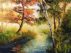 HAND PAINTED OIL PAINTING WALL DECOR AUTUMN SCENERY ON CANVAS ZO60 00403 #ZL #OilPainting