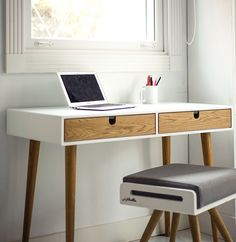 Desk ,bureau lacquered in white and oak drawers on Behance