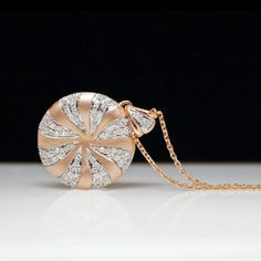 14k Rose Gold Diamond Spiral Disk Pendant with .35cttw Natural Diamonds on Etsy, $900.00