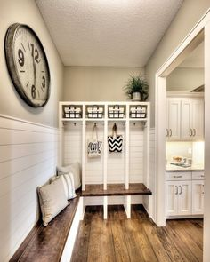 This DIY mudroom idea could be PERFECT for our house. The separate section/cubbies are perfect for the kids to put their stuff so the house appears clutter-free and organized. #organizationideasforthehome #gettingorganized #diyhomedecor .