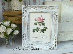 Miniature Dollhouse Framed Painting  Rose by Minicler
