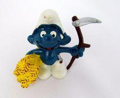 Vtg 1981 Smurfs Peyo FARMER Smurf 20145 Schleich Hong Kong PVC Figure Figurine
