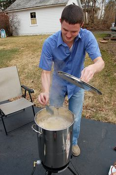 home brewing -- how to brew beer at home.. My stepdad would love this