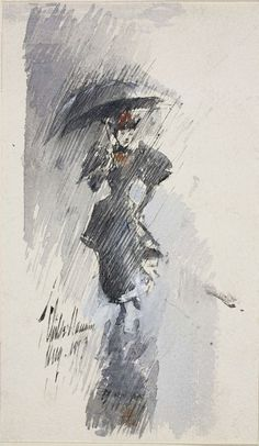 Childe Hassam / Woman with Umbrella / 1893 / Pen and black ink and watercolor, heightened with white gouache on ivory wove paper