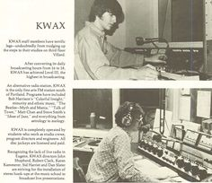 KWAX radio 1974-75. From the 1975 Oregana (University of Oregon yearbook). www.CampusAttic.com