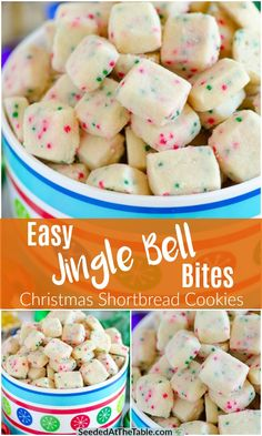 Jingle Bell Bites are tiny holiday shortbread cookies speckled with green and red nonpareils for fun Christmas cheer!  These Christmas shortbread cookie bites are perfect for a Christmas treat bag!