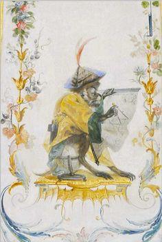 Le singe géographe, Porte, Grande Singerie, château de Chantilly, photographie lavieb-aile.