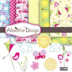 """Sunny spring set contains six digital papers and nine spring elements. Set is perfect for invitations, scrapbooking, party, etc.    Format: 6 digital papers 12x12"""" 300dpi JPEG and 9 elements in EPS version 8 and high resolution JPEG and PNG."""