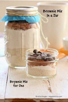 Brownie Mix in a Jar. Single Serve Brownie too. Vegan Recipe