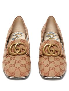 cf7e9cdb89c GUCCI ORIGINAL GG CANVAS BLOCK-HEEL LOAFER PUMPS.  gucci  shoes ...
