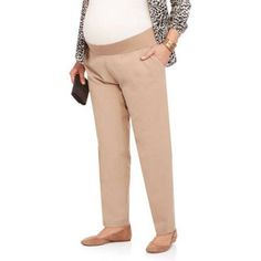 e313b3ad165 Maternity Demi-Panel Straight-Leg Career Pants with Side Pockets --  Available in Plus Sizes - Walmart.com
