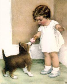 Vintage Poster-Bessie Pease Gutmann 'Girl feeding puppy ice cream cone'16x20 in | eBay
