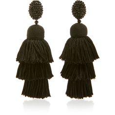 Oscar de la Renta Long Silk Tiered Tassel C Earring (6.975 ARS) ❤ liked on Polyvore featuring jewelry, earrings, black, long jewelry, silk jewelry, tassel jewelry, long tassel earrings and oscar de la renta earrings