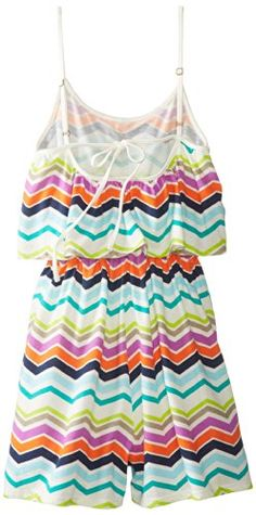 Roxy Big Girls' Hopeful Printed Romper, Sea Spray Multi Chevron Print, Small  - Click image twice for more info - See a larger selection of girls jumpsuit at http://girlsdressgallery.com/product-category/girls-jumpsuit/- girl, girls, little girls, kids, kid, girls fashion, kids fashion, gift ideas, over all for girls, jumpers, jumpsuit, romper
