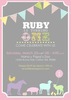 Petting Zoo Birthday Printable Invitation by lilbeansprout on Etsy, $15.00