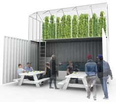 This is GrowUp - an urban farm with a difference. The base of the farm is a shipping container home to tanks of fish. The fish are fed a vegetarian diet, producing waste that feeds the plants that grow in the greenhouse on the top. And it could soon be a fixture in central London, successful Kickstarter campaign permitting.