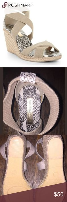 NWOT BCBGMAXAZRIA Espadrille Wedge Sandals 7.5 BCBG MAXAZRIA Barcelona Espadrille Wedge Sandals in size 7.5 • Platforms feature a crossover straps, woven espadrille wedges, snakeskin inner sole and are open toe. • Brand new without a box and show no signs of wear!  • Sold out and retailed for $128.00  Feel free to ask questions! Please take a look at my other listings for more great deals! BCBGMaxAzria Shoes Espadrilles