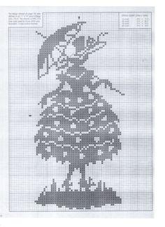 0 point de croix monochrome femme crinoline et ombrelle - cross stitch crinoline lady with a parasol