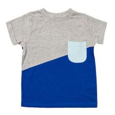 Baobab – Grey Blue Block Colour Tee Short sleeve tee made from soft 100% organic cotton knit fabric with diagonal split panels in blue and grey melange and back panel in grey melange.  Contrast mint green pocket at front. Machine washable.