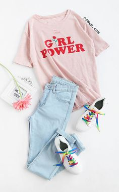 Shop Pink Letter And Rose Print Ripped T-shirt at ROMWE, discover more fashion styles online. Girls Fashion Clothes, Teen Fashion Outfits, Outfits For Teens, Fall Outfits, Summer Outfits, Teenager Outfits, Western Outfits, Cute Casual Outfits, Look Cool