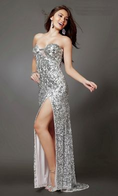 Long/Floor-length Sequined Sequins Tight Sleeveless Prom Dress PD3B4C