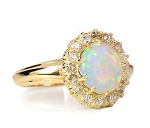 opal ring... This would be perfection in rose gold and make the diamonds pave....
