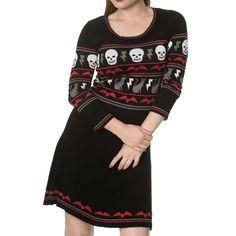 All Hallows gebreide jurk met lange mouwen en Halloween print zwart - Emo Gothic