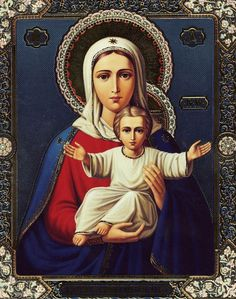 A beautiful Orthodox Christian icon of our beloved Mother.  Theotokos Virgin, rejoice, Mary full of grace, the Lord is with you. Blessed are you among women, and blessed is the fruit of your womb, for you have borne the Saviour of our souls.