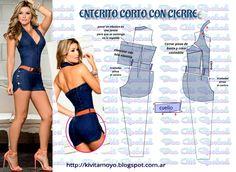 KiVita MoYo: ENTERITO CORTO CON CIERRE Skirt Patterns Sewing, Sewing Paterns, Clothing Patterns, Fashion Sewing, Diy Fashion, Diy Bralette, Costura Fashion, Underwear Pattern, Sewing Pants