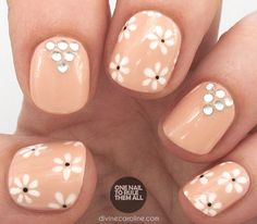 One Nail To Rule Them All: Tutorial Thursday: Daisy Rhinestones for Divine Ca.She always has the best nail designs and tutorials! Daisy Nail Art, Daisy Nails, Flower Nails, Shellac Nails, Cute Nails, Pretty Nails, Nail Art Blog, Easter Nails, Girls Nails