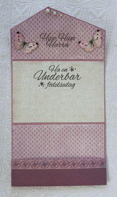 Kuvertkort med tutorial | Kristinas Scrapbooking Blogg Shabby Chic Cards, Shaped Cards, Mini Scrapbook Albums, Card Making Techniques, Card Tutorials, Masculine Cards, Vintage Cards, Card Wallet, 3 D