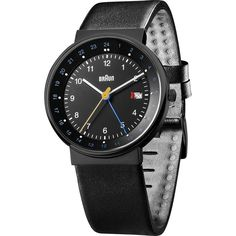 Braun BN0142 Black World Timer Analog Men's Watch   Leather. Drawing its design from the iconic Braun AW24 of the 1980s, this Braun black watch is a classic throwback and features a leather strap, which comes with a moisture resistant coating.