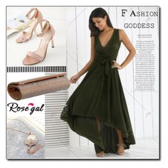 """""""Rosegal 5"""" by fashion-with-lela ❤ liked on Polyvore featuring Elegant, GreenDress and eveningstyle"""