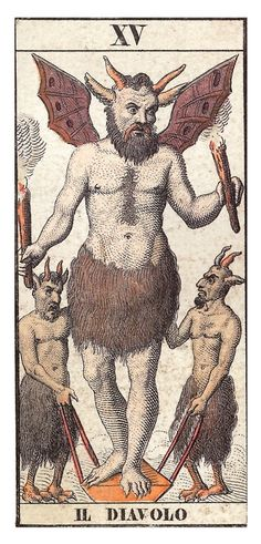 oursoulsaredamned:  Tarot Card The Devil   By: Il Diavolo, Frenc