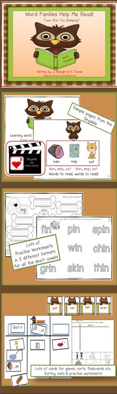 Word Families Help Me Read{CCSS} This singable teaches word families: am, ap, at & ed, et, en & ig, ip, in & op, og, ot & un, ug, ub. Multiple worksheets!  Sorting mats, word cards, & path game for center activities.  Mini-MOVIE included!   98 pages  http://www.teacherspayteachers.com/Product/Word-Work-Word-Families-Help-Me-Read-Common-Core-Connections-915506