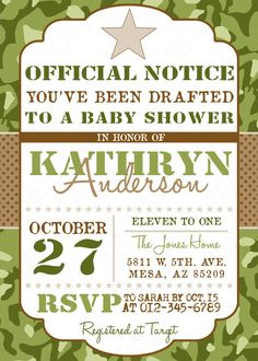 Camo Boy Baby Shower Invite - Military Baby Shower invitation Army Baby Shower Invitation PDF Printable  DIY invite Green Brown (Item #104) by SassyGraphicsDesigns #sassygraphicsdesigns