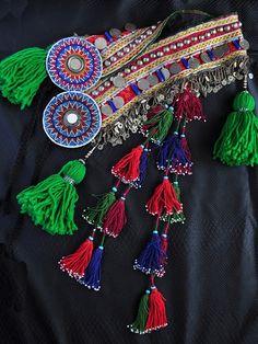 Vibrant Tribal Belly Dance Tassel Belt in Blue Red by DancingTribe