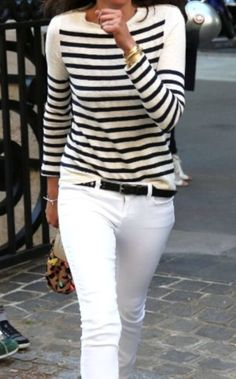 Don't be afraid to mix cream and navy-blue stripes with white denim. It adds sophistication to the cool, casual look.