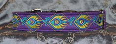 "Pet Necklace ""The Peacock"" Design Dog Collar in Purple suede with multiple thread colors."